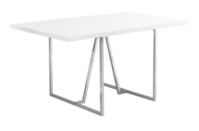 "Monarch Specialties I 1063 Dining Table - 36""X 60"" / White / Chrome Metal 680796000394"
