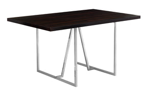 "Monarch Specialties I 1064 Dining Table - 36""X 60"" / Cappuccino / Chrome Metal 680796000400"