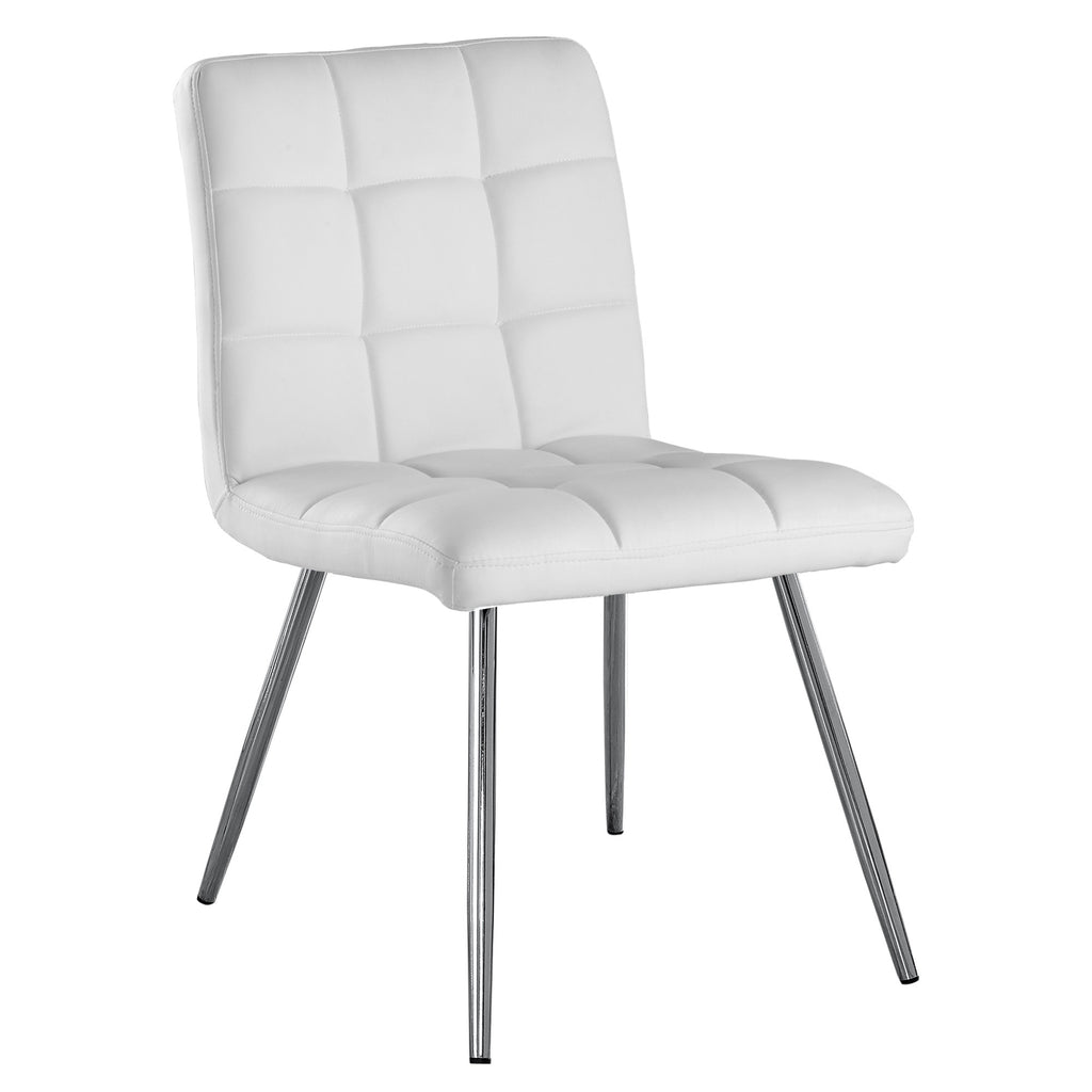"Monarch Specialties I 1071 Dining Chair - 2Pcs / 32""H / White Leather-Look / Chrome 878218003232"