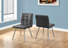 "Dining Chair - 2Pcs / 32""H / Grey Leather-Look / Chrome"