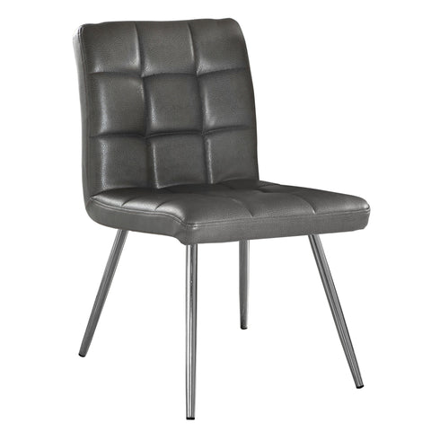 "Monarch Specialties I 1072 Dining Chair - 2Pcs / 32""H / Grey Leather-Look / Chrome  878218003249"