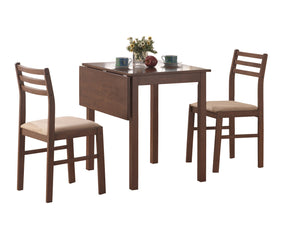 Monarch Specialties I 1079 Dining Set - 3Pcs Set / Walnut Solid-Top Drop Leaf  021032186081