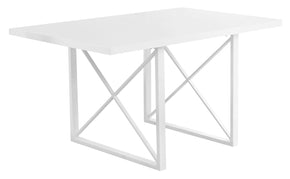 "Monarch Specialties I 1101 Dining Table - 36""X 60"" / White Glossy / White Metal 680796000349"