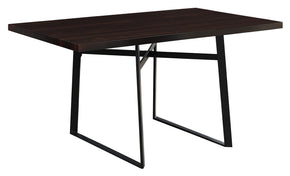 "Monarch Specialties I 1105 Dining Table - 36""X 60"" / Cappuccino / Black Metal 680796000356"