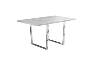 "Monarch Specialties I 1119 Dining Table - 36""X 60"" / Grey Cement / Chrome Metal 680796001230"