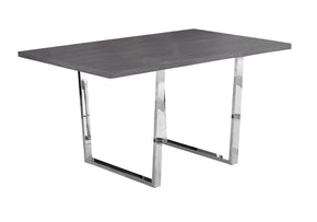 "Monarch Specialties I 1120 Dining Table - 36""X 60"" / Grey / Chrome Metal 680796001247"