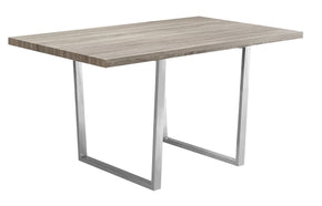 "Monarch Specialties I 1121 Dining Table - 36""X 60"" / Dark Taupe / Chrome Metal 680796001254"