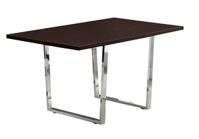 "Monarch Specialties I 1122 Dining Table - 36""X 60"" / Cappuccino / Chrome Metal 680796001261"