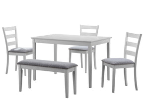 Monarch Specialties I 1210 Dining Set - 5Pcs Set / White Bench And 3 Side Chairs 021032242312