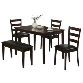 Monarch Specialties I 1211 Dining Set - 5Pcs Set / Cappuccino Bench & 3 Side Chairs 021032206284