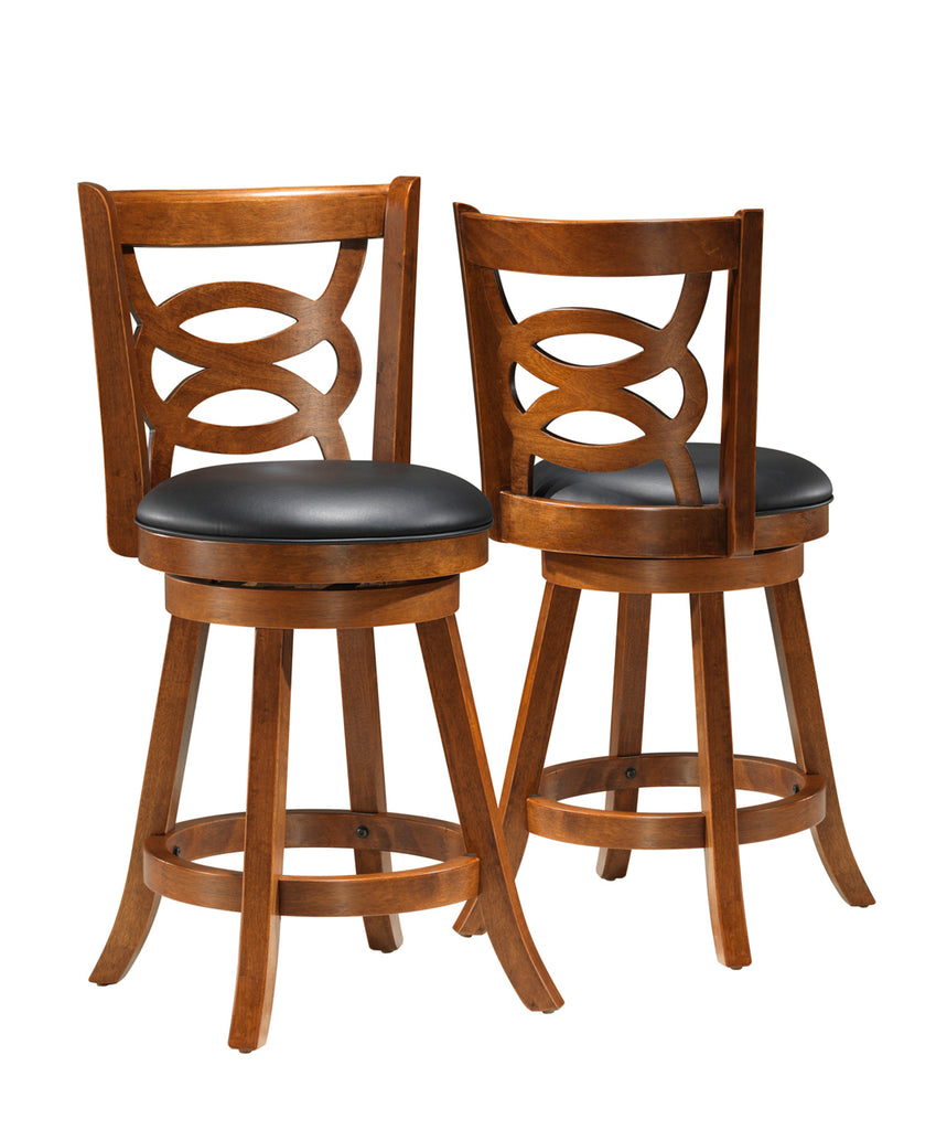 "Monarch Specialties I 1252 Barstool - 2Pcs / 39""H / Swivel / Oak Counter Height  021032227357"