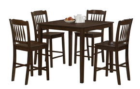 Monarch Specialties I 1548 Dining Set - 5Pcs Set / Cappuccino Veneer Counter Height  878218002853
