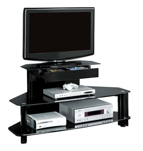 "Monarch Specialties I 2000 Tv Stand - 48""L / Glossy Black Wood / Metal / Tempered 021032222178"