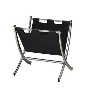 Monarch Specialties I 2034 Magazine Rack - Black Leather-Look / Chrome Metal  021032284916
