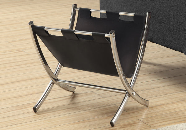 Magazine Rack - Black Leather-Look / Chrome Metal
