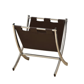 Monarch Specialties I 2035 Magazine Rack - Dark Brown Leather-Look / Chrome Metal 021032284923