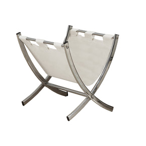 Monarch Specialties I 2036 Magazine Rack - White Leather-Look / Chrome Metal  021032284909