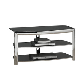 Monarch Specialties I 2038 Tv Stand - Chrome Metal / Black Tempered Glass  021032158521