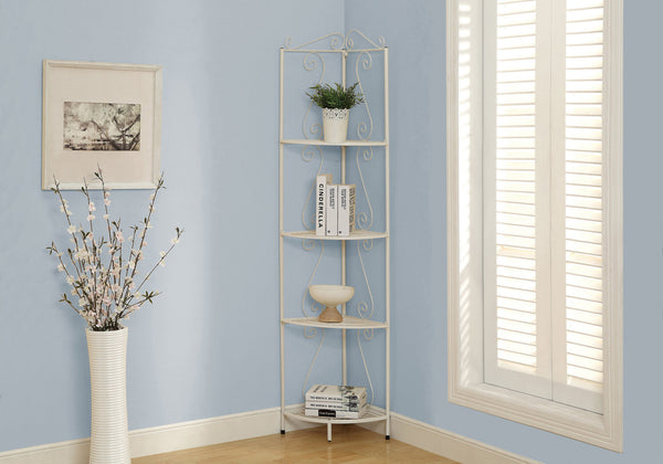 "Bookcase - 70""H / White Hammered Metal Corner Etagere"