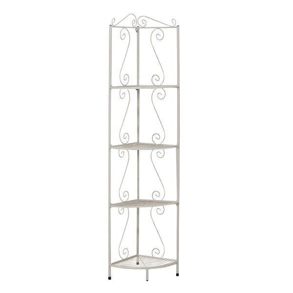 "Monarch Specialties I 2101 Bookcase - 70""H / White Hammered Metal Corner Etagere 021032288310"