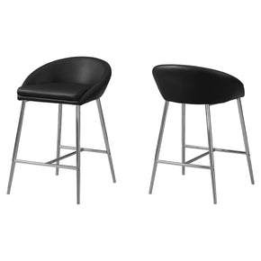 Monarch Specialties I 2294 Barstool - 2Pcs / Black / Chrome Base / Counter Height 680796012328