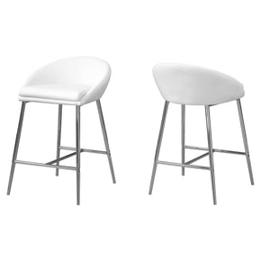 Monarch Specialties I 2296 Barstool - 2Pcs / White / Chrome Base / Counter Height 680796012342