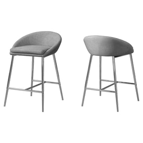 Monarch Specialties I 2298 Barstool - 2Pcs / Grey Fabric / Chrome / Counter Height 680796012366