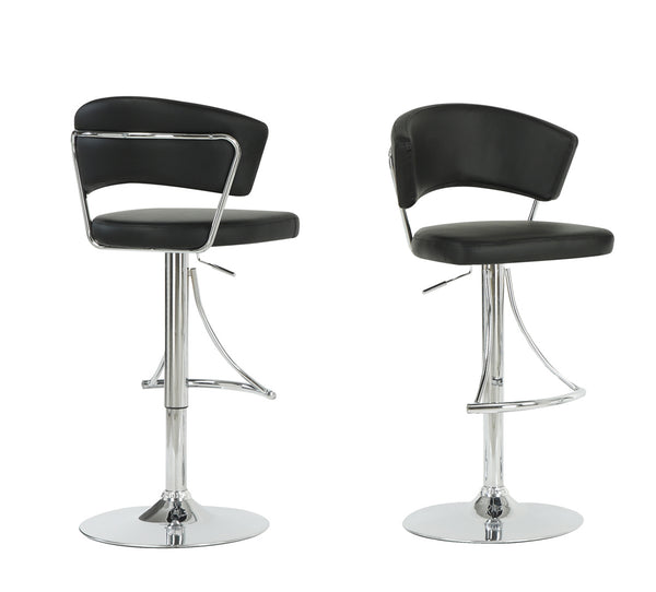 Monarch Specialties I 2300 Barstool - Black / Chrome Metal Hydraulic Lift  021032258726
