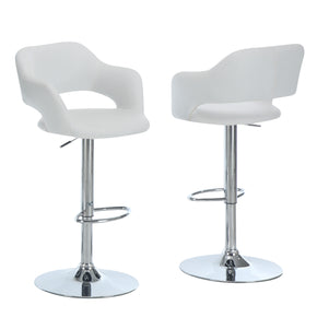 Monarch Specialties I 2358 Barstool - White / Chrome Metal Hydraulic Lift  021032245085