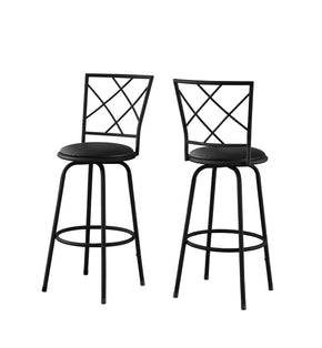 Monarch Specialties I 2375 Barstool - 2Pcs / Swivel / Black /Black Leather-Look Seat 878218006783