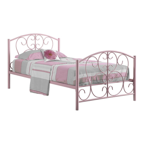 Monarch Specialties I 2390P Bed - Twin Size / Pink Metal Frame Only 878218004451
