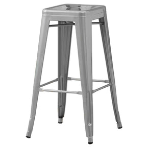"Monarch Specialties I 2402 Barstool - 2Pcs / 30""H / Silver Galvanized Metal Cafe 021032280925"