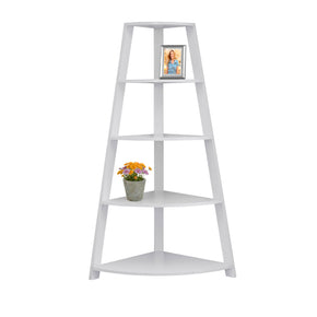 "Monarch Specialties I 2425 Bookcase - 60""H / White Corner Accent Etagere 878218009609"