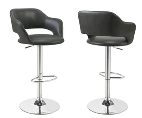 Monarch Specialties I 2441 Barstool - Charcoal Grey / Chrome Metal Hydraulic Lift 021032288518