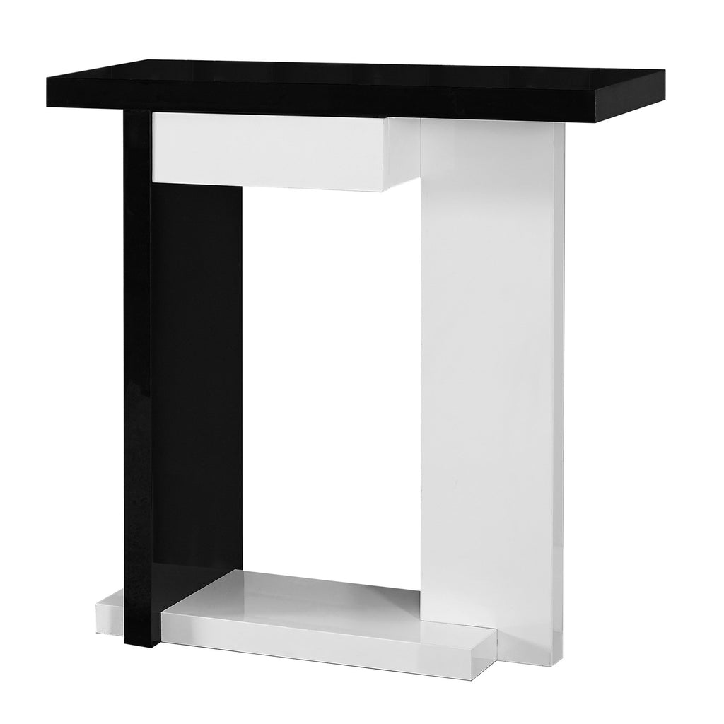 "Monarch Specialties I 2457 Accent Table - 32""L / Glossy White / Black Hall Console 878218000385"