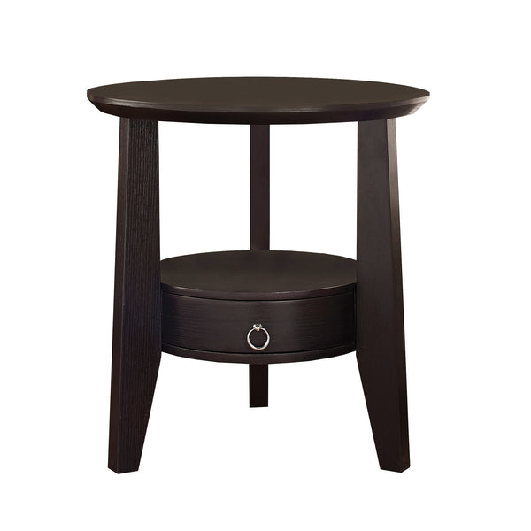 "Monarch Specialties I 2491 Accent Table - 23""Dia / Cappuccino With 1 Drawer 878218000637"