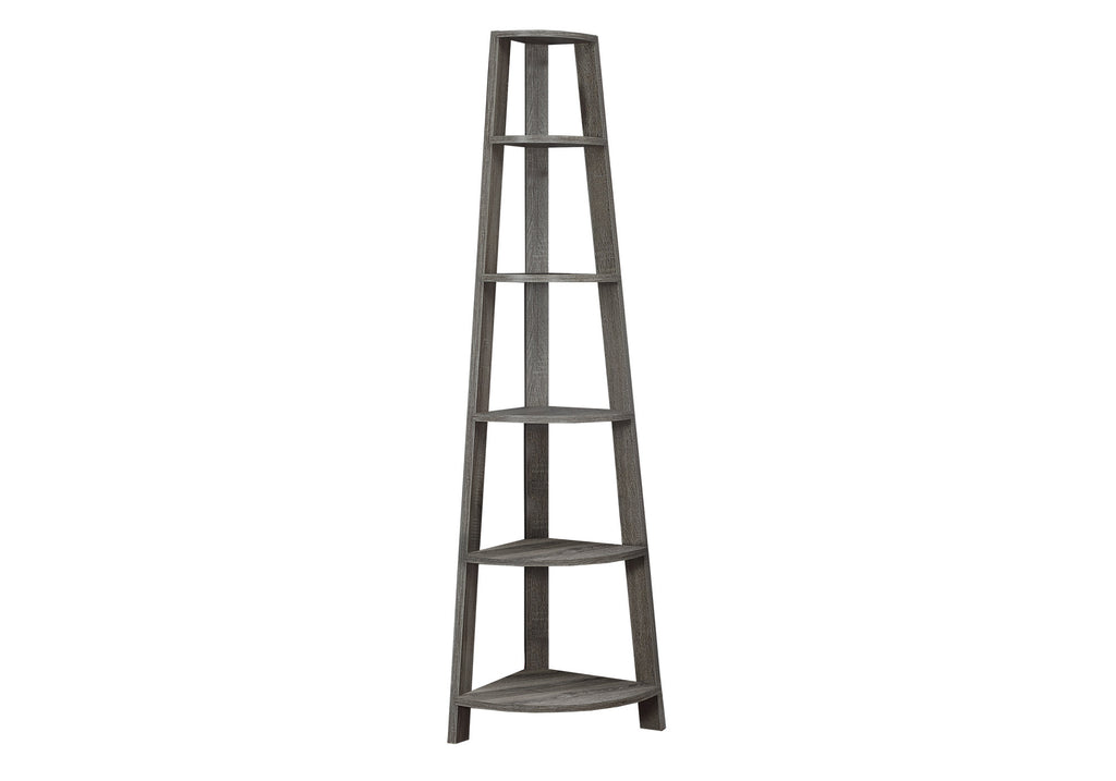 "Monarch Specialties I 2497 Bookcase - 72""H / Dark Taupe Corner Accent Etagere 878218000682"