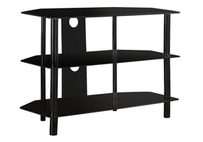 "Monarch Specialties I 2506 Tv Stand - 36""L / Black Metal With Tempered Black Glass 878218003508"