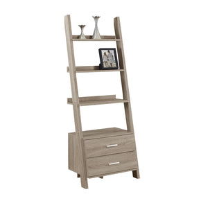 "Monarch Specialties I 2538 Bookcase - 69""H / Dark Taupe Ladder W/ 2 Storage Drawers 878218007452"
