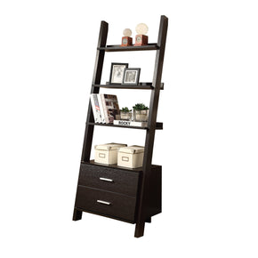 "Monarch Specialties I 2542 Bookcase - 69""H / Cappuccino Ladder W/ 2 Storage Drawers 021032261047"