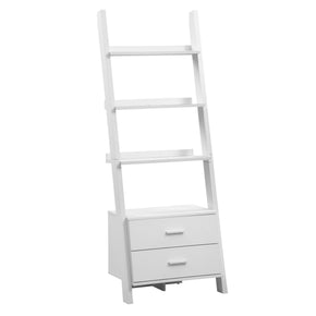 "Monarch Specialties I 2562 Bookcase - 69""H / White Ladder With 2 Storage Drawers 021032284985"