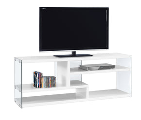 "Monarch Specialties I 2690 Tv Stand - 60""L / Glossy White With Tempered Glass 878218008398"