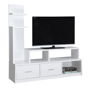 "Monarch Specialties I 2697 Tv Stand - 60""L / White With A Display Tower 878218008459"