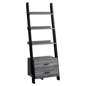 "Monarch Specialties I 2755 Bookcase - 69""H / Grey-Black Ladder With 2 Storage Drawer 680796010133"