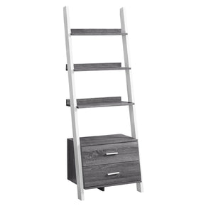 "Monarch Specialties I 2756 Bookcase - 69""H / Grey-White Ladder With 2 Storage Drawer 680796010140"