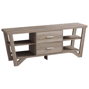 "Monarch Specialties I 2761 Tv Stand - 60""L / Dark Taupe With 2 Storage Drawers 680796010164"