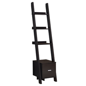 "Monarch Specialties I 2765 Bookcase - 69""H / Cappuccino Ladder W/ Storage Drawer 680796013264"