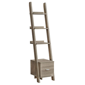 "Monarch Specialties I 2766 Bookcase - 69""H / Dark Taupe Ladder W/ Storage Drawer 680796013271"