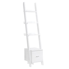 "Monarch Specialties I 2767 Bookcase - 69""H / White Ladder W/ Storage Drawer 680796013288"