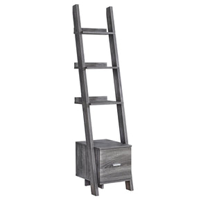 "Monarch Specialties I 2768 Bookcase - 69""H / Grey Ladder W/ Storage Drawer 680796013295"